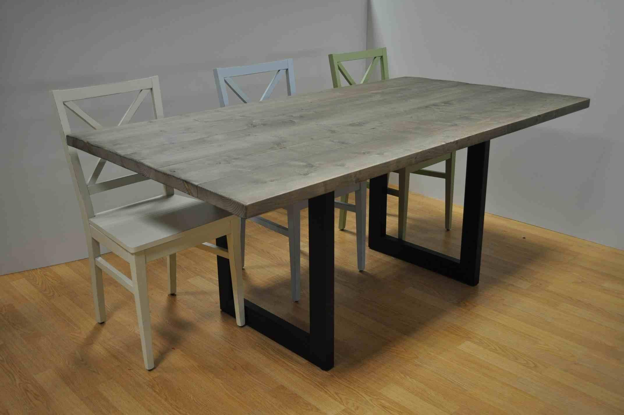 שולחן קורות עץ אורן מעושן